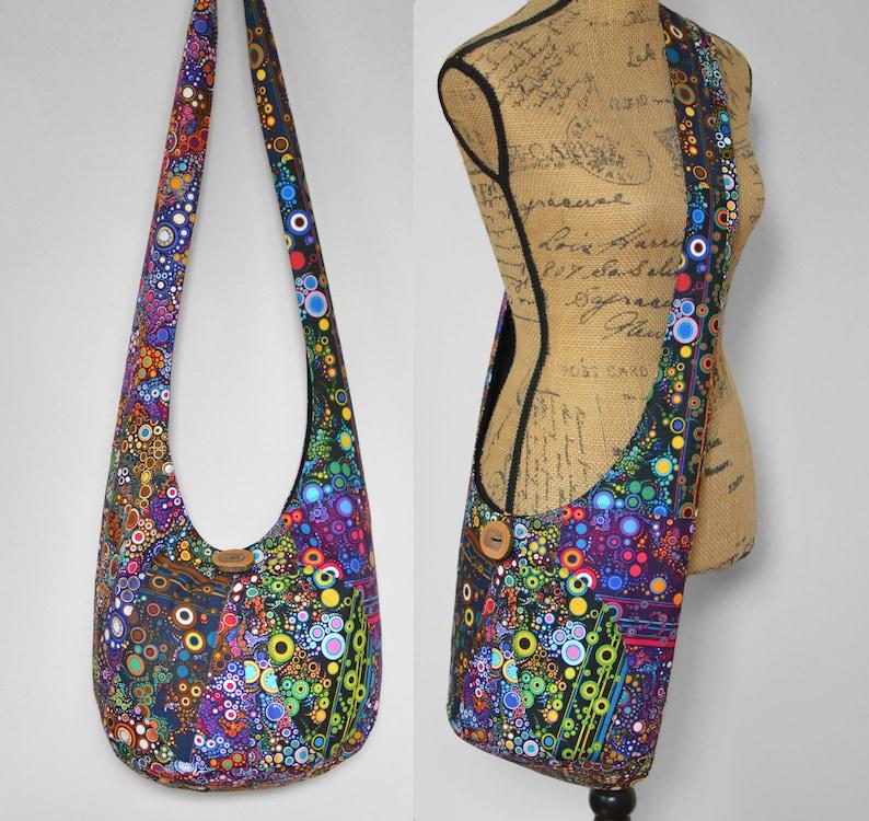 debc481b8d1a Bubbles Patchwork Crazy Quilt Hobo Bag Crossbody Bag Handmade