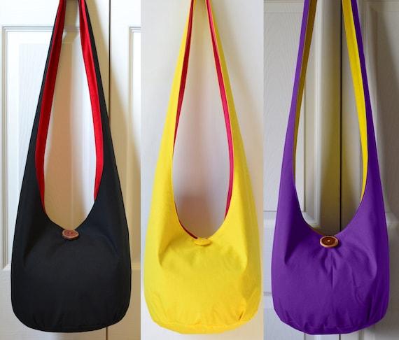 a907707750 Solid Color Hobo Bag Crossbody Bag Fabric Boho Purse Handmade