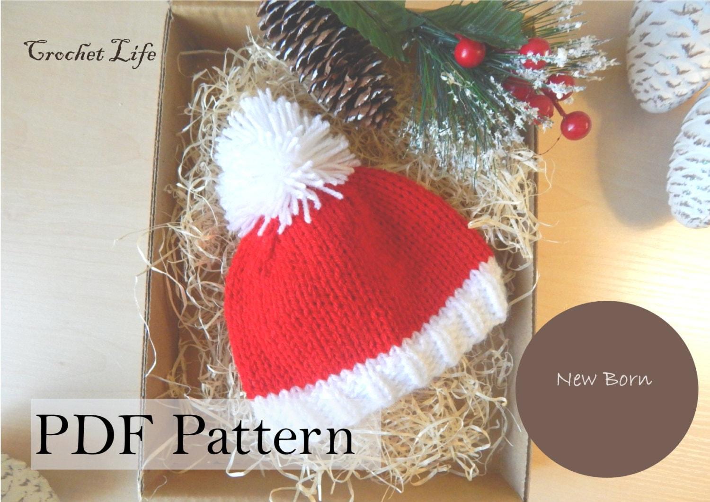 Baby Santa hat PDF Pattern Knitting pattern Knit baby hat | Etsy