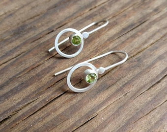 Peridot and sterling silver Halo drop earrings, faceted spring green peridot encircled with sterling silver halos