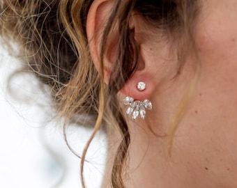 Vintage Style Cream Ear Jackets  Bridal Earrings