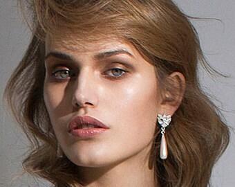 Wedding Earrings, Bridal Earrings, Pearl Wedding Earrings, Pearl Wedding Jewelry, Crystal Earrings, Drop Earrings, Dangle Wedding Earrings
