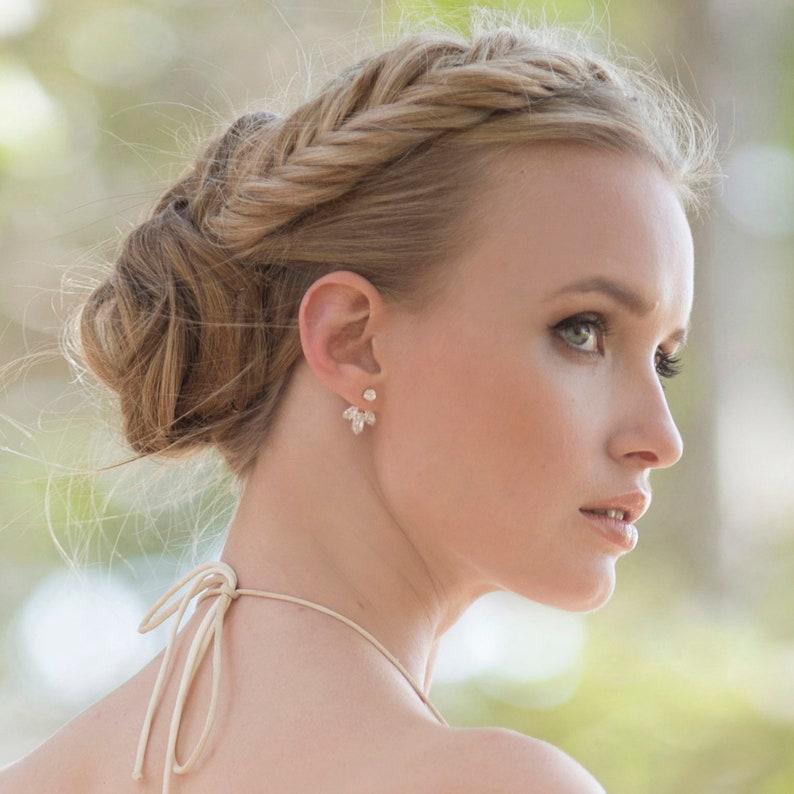 Delicate Minimal bride earrings Bridal Ear Jacket Modern Jewelry Gold Ear Jacket Wedding Stud Earring CZ jackets Small Cluster Earring