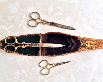 RARE JA Henckels Antique Sewing Scissors Set of 3 with Case Twin Works Germany