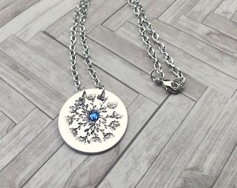 Hand Stamped Mandala Design Jewelry Necklace, Aluminum Mandala Necklace, Boho Style
