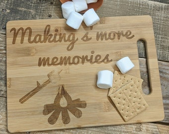 Making Smore memories serving board, Farmhouse serving board, campsite serving board