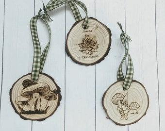 Wooden Christmas Ornament, Succulent ornament, Mushroom ornament, or Farmhouse Christmas Ornament