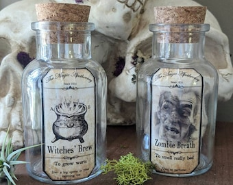 Halloween Potion Glass Bottles for Home or party decorations