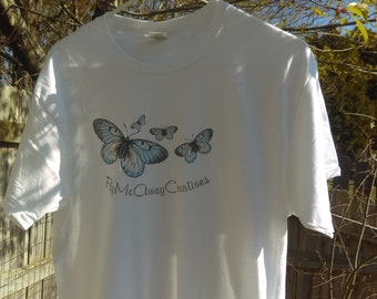 Women 100% cotton T-shirt with butterfly and Flymeawaycreations logo
