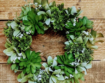 Faux Succulent Wreath 11inches, Succulent wreath for front door or House warming gift