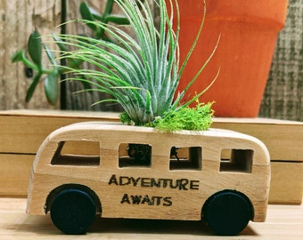 Bus Planter with Air Plant, Adventure awaits, for Indoor Gardening