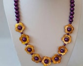 Yellow and purple daisy necklace - purple pearlescent necklace, yellow marbled daisy necklace, flower necklace, amber flower necklace