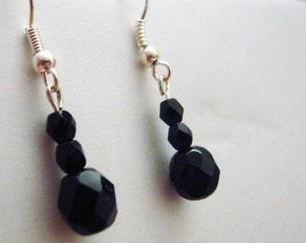 Black shiny drop earrings - black earrings, dangly earrings, long earrings, dangle earrings, black sparkly earrings, Christmas party jewelry