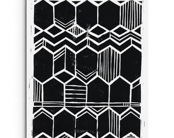 Geometric Art - Repeating Hexagon Pattern Block Print - Home Decor - Linocut Block Print - Original or Digital Print