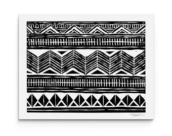 Geometric Chevron and Diamonds - Modern Art - Geometric Art - Wall Art - Linocut Block Print - Digitally Printed
