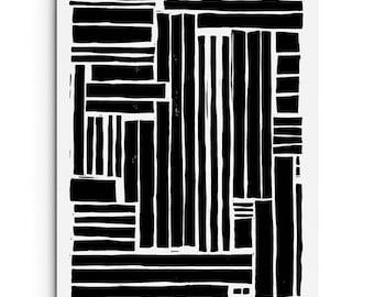 Bold Modern Lines - Modern Art - Contemporary Art - Linocut Block Print - Digitally Printed