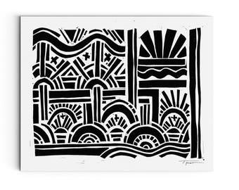 Geometric Sunburst - Modern Art - Wall Art - Linocut Block Print - Digital or Original Print