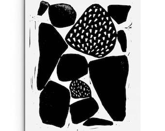 Contemporary Art - Modern Stones with Patterns - Linocut Block Print - Original or Digital Print
