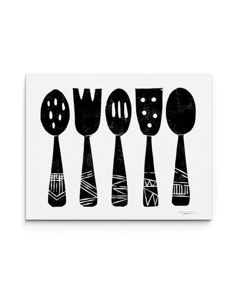 Kitchen Utensils Poster   Kitchen Print   Food Art   Linocut Block Print    Digitally Printed | BP I023KU