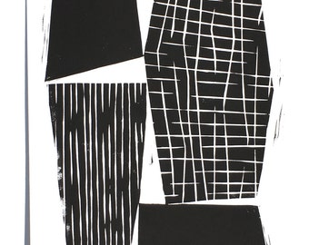 Four Minimalist Geometric Forms with Patterns - Minimalist Art - Wall Art - Linocut Block Print - Original or Digital Print
