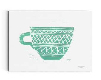 Coffee Cup with Geomtric Patterns - Kitchen Decor - Coffee Mug - Wall Art - Linocut Block Print - Digital or Original Print