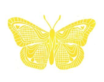 SALE - 8x10 - Mustard Yellow - Butterfly Illustration - Nature - Insects - Wall Art -  Linocut Block Print - Original Print