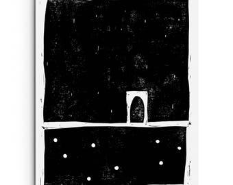 Minimalist Large Forms with Dots - Linocut Block Print - Original or Digital Print