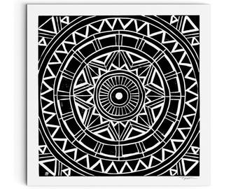 Square - Radial Circular Geometric Pattern Print - Art Print - Modern Art - Linocut Block Print - Digitally Printed - Giclee Print