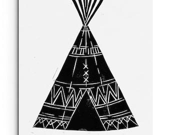 SALE - Black 8x10 Tee Pee with Tribal Patterns - Baby Nursery - Kids Room - Wall Art - Linocut Block Print - Original Print
