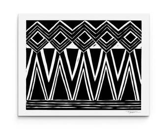 Geometric Diamond Pattern Print - Home Decor - Wall Art - Block Print - Giclee Print- Digital Print
