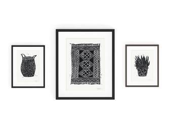 Set of 3 Art Prints - Basket, Kilim Rug, Succulent - Wall Art - Linocut Block Print - Digitally Printed