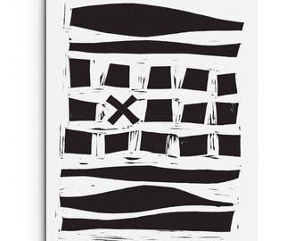 Squares Between Lines - Modern Art Print - Contemporary Art - Linocut Block Print - Original or Digital Print