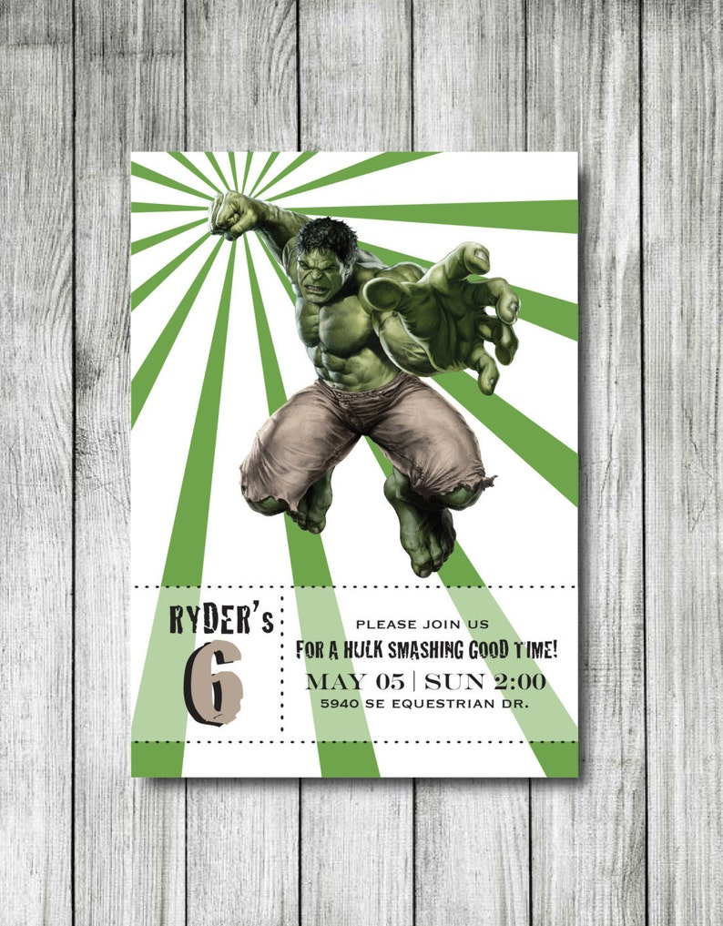 Hulk Birthday Invitation Superhero
