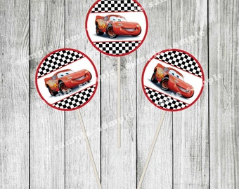 Disney Cars Cupcake Toppers - Printable Lightning McQueen Cupcake toppers - Instant Download McQueen cupcake toppers