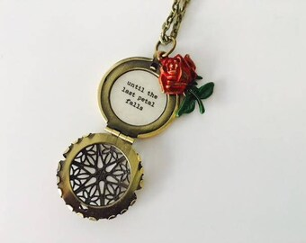 Beauty And The Beast Locket Belle Rose Necklace Tale As Old Etsy
