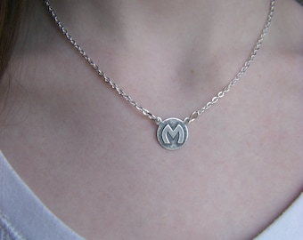 Silver Art Deco Initial Letter M Necklace Silver Chain Delicate Small Necklace Monogram Personalized Gift For Her Initial M
