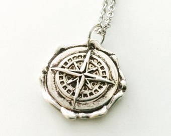 Silver Compass necklace, wax seal compass, direction, wanderlust, Stainless Steel