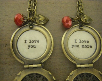 Mother Daughter Lockets,  I Love You, I Love You More, Set Of Two, Mother's Day, Inscribed Jewelry