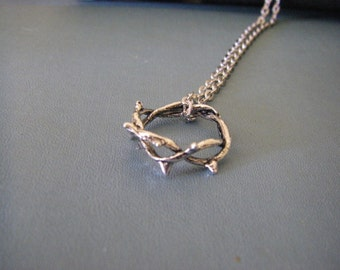 Silver Crown Of Thorns Necklace, Faith  Christian, Crucifixion, Stainless Steel Chain