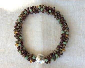 Mixed Autumnal shades of cola, Amber, sage and burnt umber double drops neckalce w hammered sterling silver bead