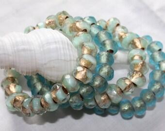 stackable bracelets . gold leaf, aqua, frosty blue  . 1 bracelet