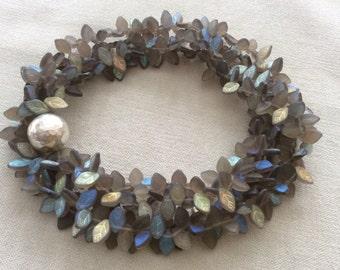 Laboradorite gray blue leaf necklace . long statement necklace