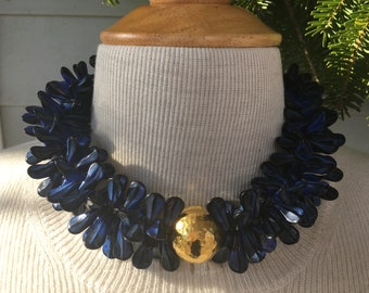 Lapis and vermeil double duckbills .  Glass strands with sterling silver hammered bead . statement necklace