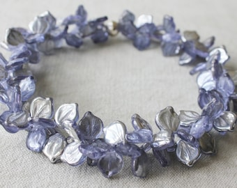 silver lights leaf necklace . statement necklace