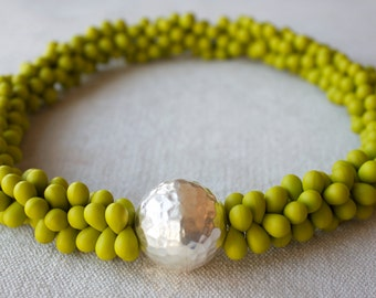 kiwi avocado lime green lovers double drops neckalce w hammered sterling silver bead