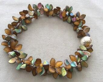 Amber lights leaf necklace . statement necklace