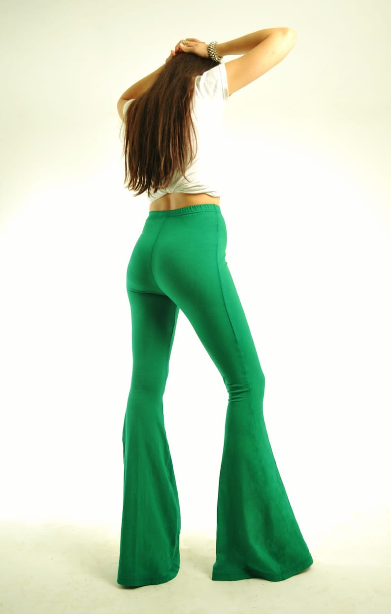 Bell Bottoms M Extra Long High Waisted Green Bellbottoms Xl Flare Pants L Wideleg Pants S Cotton Hippie Bellbottoms Sizes Xs