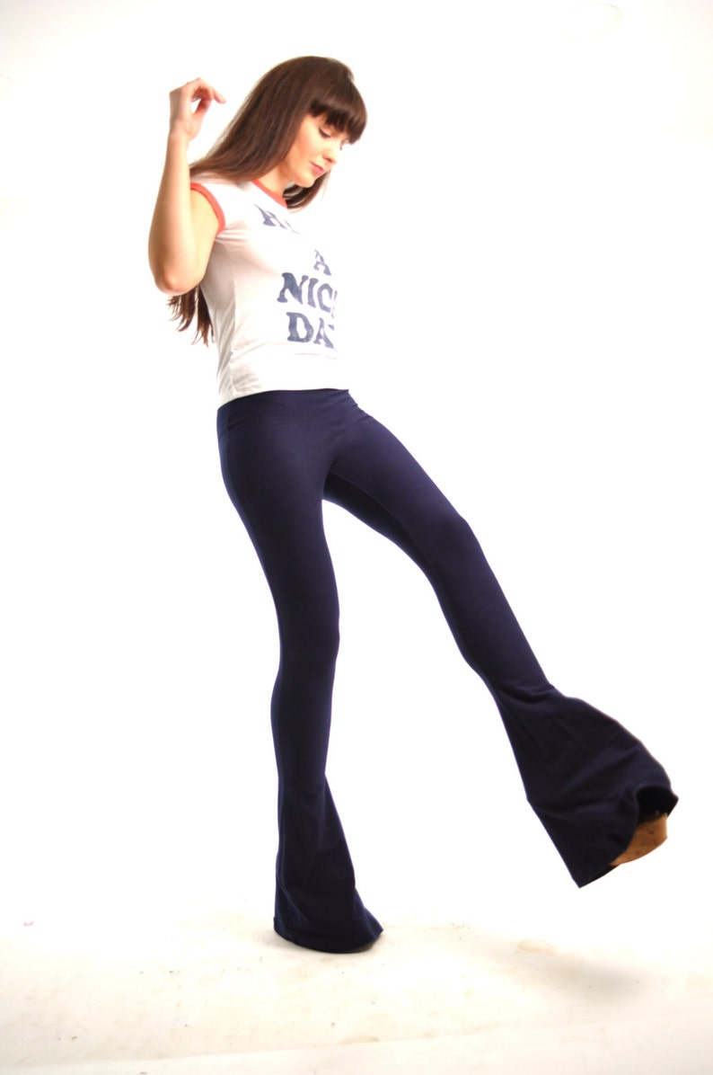 S Cotton Yoga Mini Flare Pants Sizes XS Ankle Flares L Flare Pants M Bell Bottoms Extra Long High Waisted Navy Bellbottoms XL