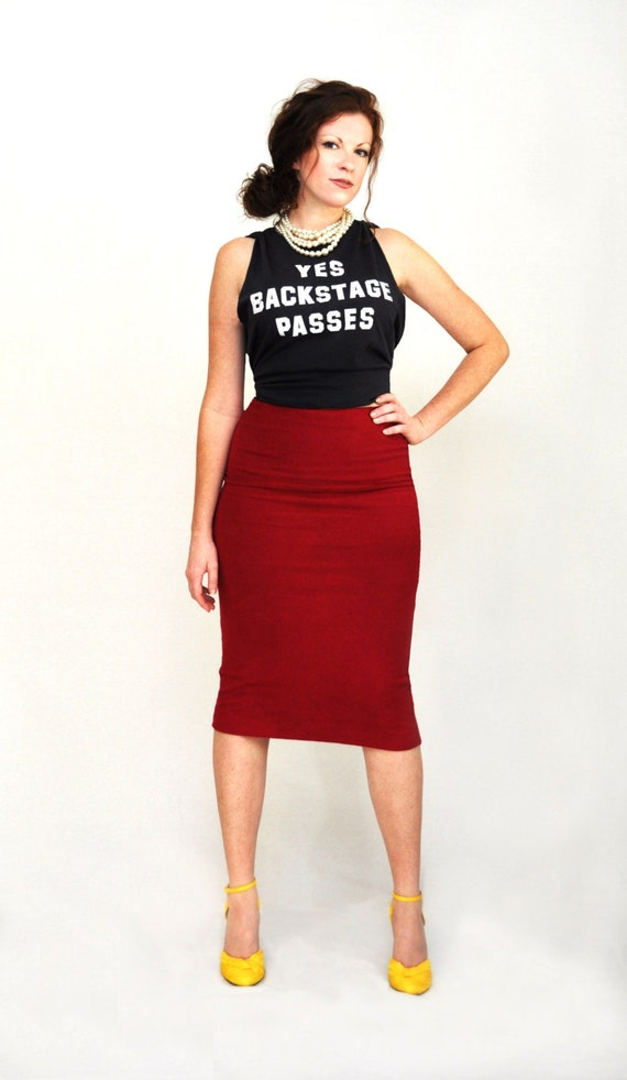 Pencil Skirt High Waist Hand Dyed Pencil Skirt in Stretch Knit Cotton Fitted Boho Pencil Skirt Tight Skirt Sizes XS, S, M, L, XL