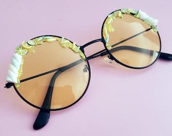 64515ac2b37 Decoden Citrus Marshmallow Yellow Lens Circle Frame Sunglasses